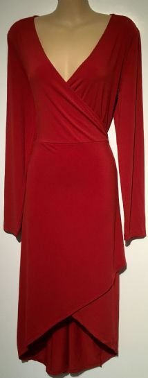 SIGNATURE COLLECTION RED STRETCH WRAP MIDI DRESS SIZES 12-28